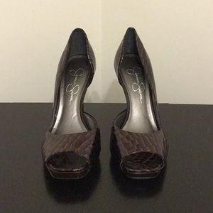 Jessica Simpson Brown Snake Skin Heels